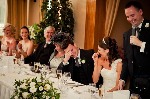 this funny fellow is delivering a classic wedding speech and getting a big reaction we