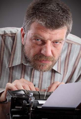 This grumpy guy at a typewriter needs a book proposal written.