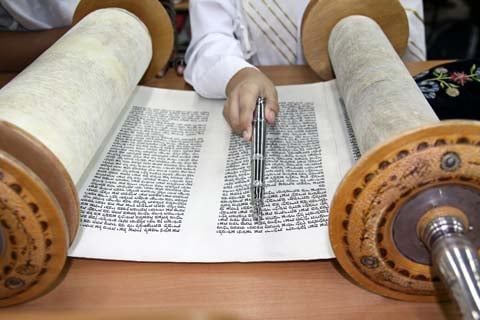 Reading the Torah scroll.